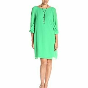 AGB Women's A-Line Sheer Dress with Necklace